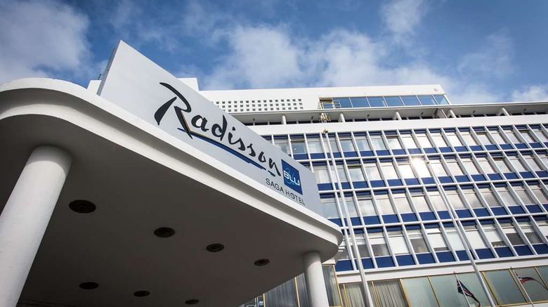 """Radisson Blu Saga Hotel Exterior. Images powered by <a href=""""http://web.iceportal.com"""" target=""""_blank"""" rel=""""noopener"""">Ice Portal</a>."""