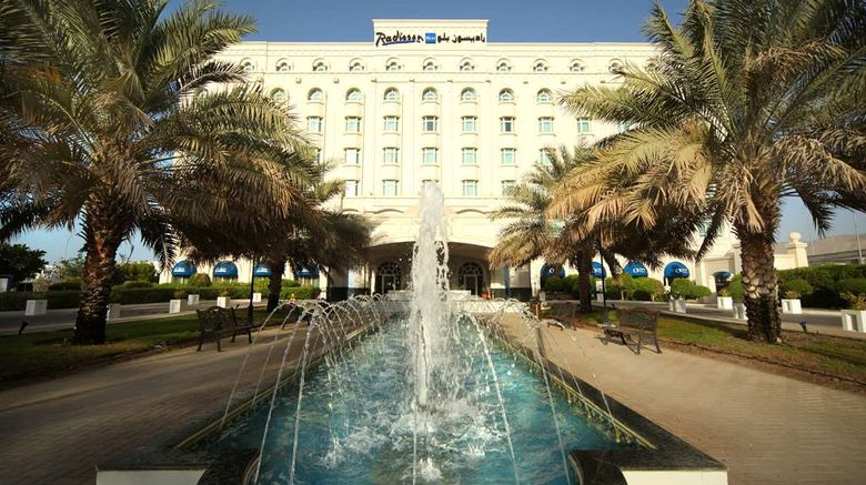 """Radisson Blu Hotel Muscat Exterior. Images powered by <a href=""""http://web.iceportal.com"""" target=""""_blank"""" rel=""""noopener"""">Ice Portal</a>."""