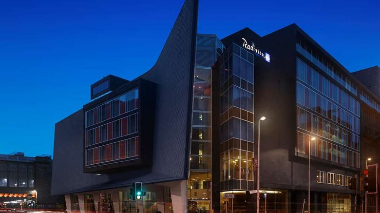 """Radisson Blu Hotel Glasgow Exterior. Images powered by <a href=""""http://web.iceportal.com"""" target=""""_blank"""" rel=""""noopener"""">Ice Portal</a>."""