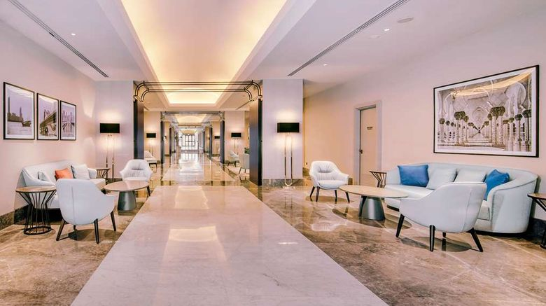 """Radisson Blu Hotel  and  Resort, Corniche Lobby. Images powered by <a href=""""http://web.iceportal.com"""" target=""""_blank"""" rel=""""noopener"""">Ice Portal</a>."""