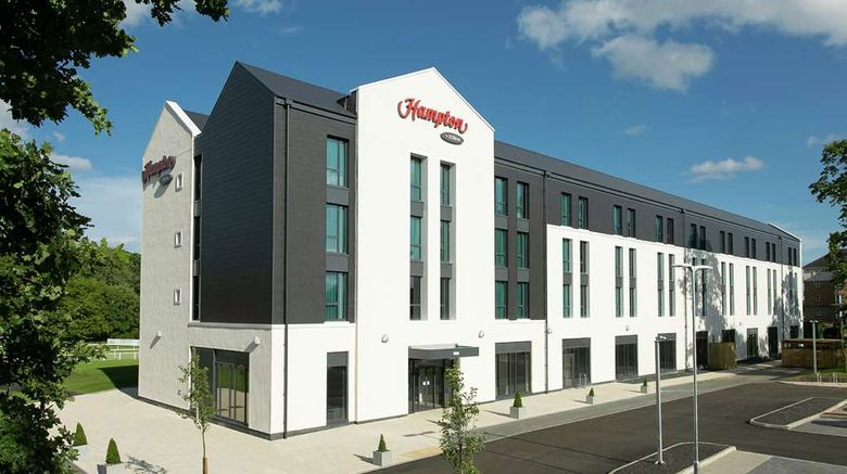 """Hampton by Hilton Hamilton Park Exterior. Images powered by <a href=""""http://web.iceportal.com"""" target=""""_blank"""" rel=""""noopener"""">Ice Portal</a>."""