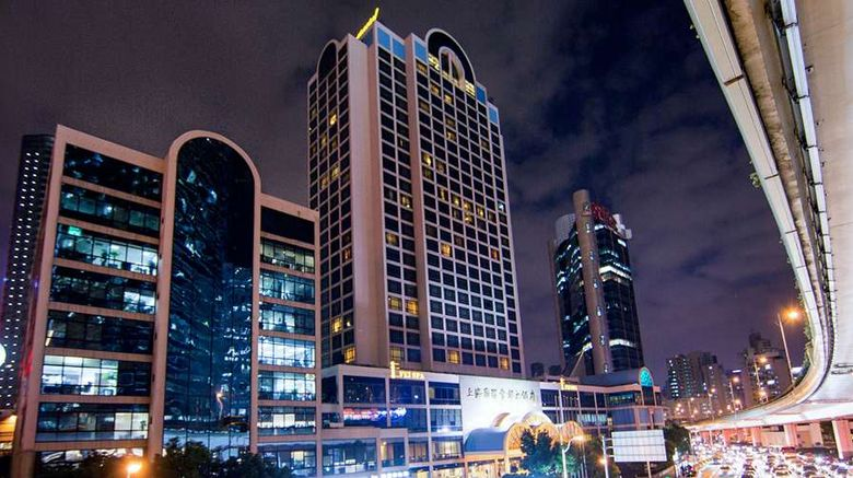 """Hotel Equatorial Shanghai Exterior. Images powered by <a href=""""http://web.iceportal.com"""" target=""""_blank"""" rel=""""noopener"""">Ice Portal</a>."""