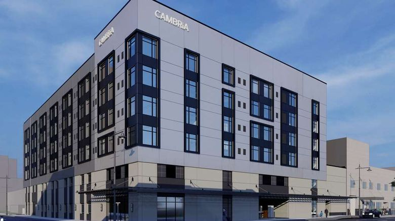 """Cambria Hotel Exterior. Images powered by <a href=""""http://web.iceportal.com"""" target=""""_blank"""" rel=""""noopener"""">Ice Portal</a>."""