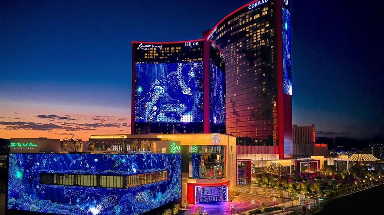 """Las Vegas Hilton at Resorts World Exterior. Images powered by <a href=""""http://web.iceportal.com"""" target=""""_blank"""" rel=""""noopener"""">Ice Portal</a>."""