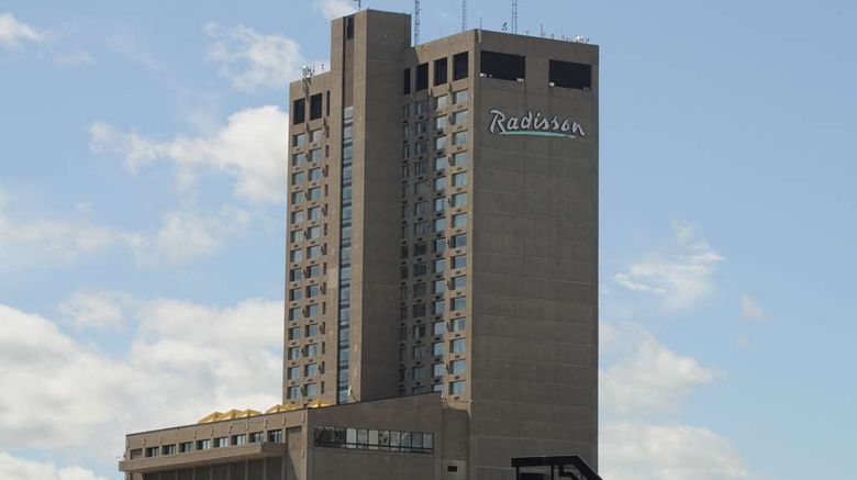 """Radisson Hotel Winnipeg Downtown Exterior. Images powered by <a href=""""http://web.iceportal.com"""" target=""""_blank"""" rel=""""noopener"""">Ice Portal</a>."""