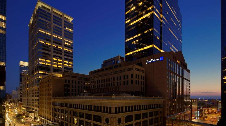 """Radisson Blu Minneapolis Downtown Exterior. Images powered by <a href=""""http://web.iceportal.com"""" target=""""_blank"""" rel=""""noopener"""">Ice Portal</a>."""