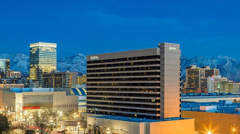 """Radisson Salt Lake City Downtown Exterior. Images powered by <a href=""""http://web.iceportal.com"""" target=""""_blank"""" rel=""""noopener"""">Ice Portal</a>."""
