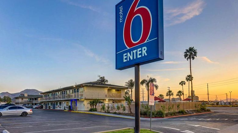 """Motel 6 San Bernardino South Exterior. Images powered by <a href=""""http://web.iceportal.com"""" target=""""_blank"""" rel=""""noopener"""">Ice Portal</a>."""