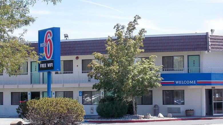 """Motel 6 Reno South Central Exterior. Images powered by <a href=""""http://web.iceportal.com"""" target=""""_blank"""" rel=""""noopener"""">Ice Portal</a>."""