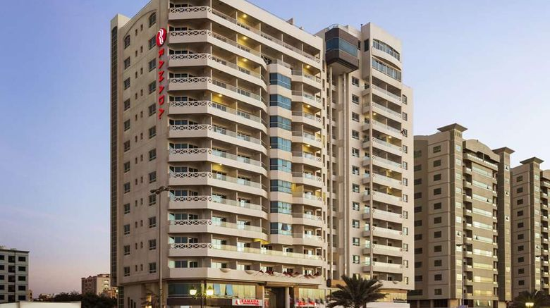 """Ramada Beach Hotel Ajman Exterior. Images powered by <a href=""""http://web.iceportal.com"""" target=""""_blank"""" rel=""""noopener"""">Ice Portal</a>."""