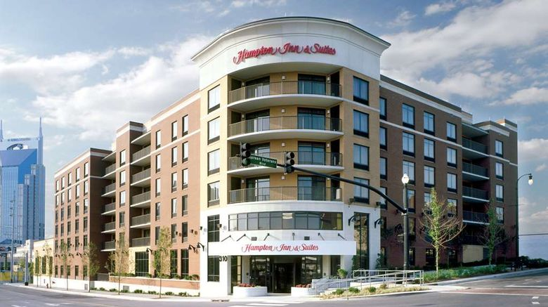 """Hampton Inn  and  Suites Nashville Downtown Exterior. Images powered by <a href=""""http://web.iceportal.com"""" target=""""_blank"""" rel=""""noopener"""">Ice Portal</a>."""