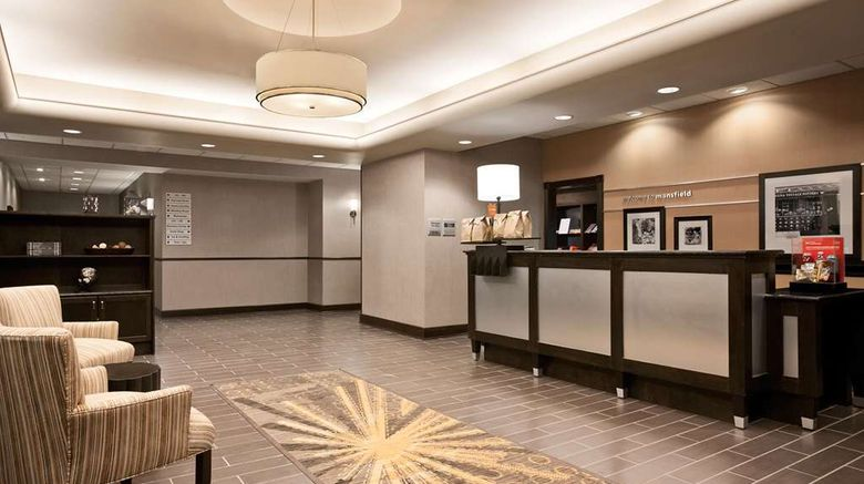 """Hampton Inn  and  Suites - Mansfield Lobby. Images powered by <a href=""""http://web.iceportal.com"""" target=""""_blank"""" rel=""""noopener"""">Ice Portal</a>."""