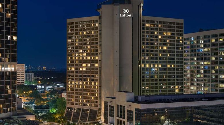 """Hilton Atlanta Exterior. Images powered by <a href=""""http://web.iceportal.com"""" target=""""_blank"""" rel=""""noopener"""">Ice Portal</a>."""