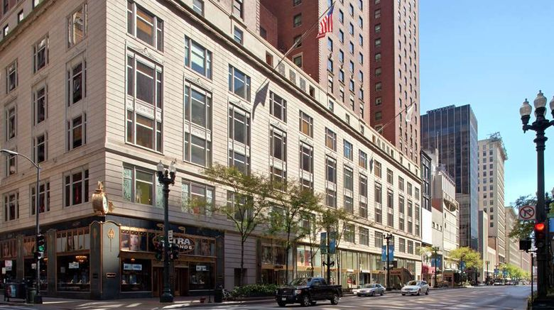 """Palmer House, a Hilton Hotel Exterior. Images powered by <a href=""""http://web.iceportal.com"""" target=""""_blank"""" rel=""""noopener"""">Ice Portal</a>."""