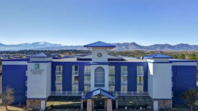 """Embassy Suites Colorado Springs Exterior. Images powered by <a href=""""http://web.iceportal.com"""" target=""""_blank"""" rel=""""noopener"""">Ice Portal</a>."""