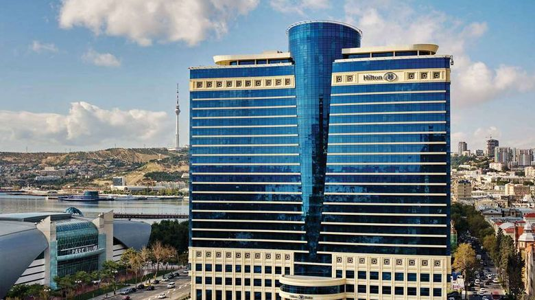 """Hilton Baku Exterior. Images powered by <a href=""""http://web.iceportal.com"""" target=""""_blank"""" rel=""""noopener"""">Ice Portal</a>."""