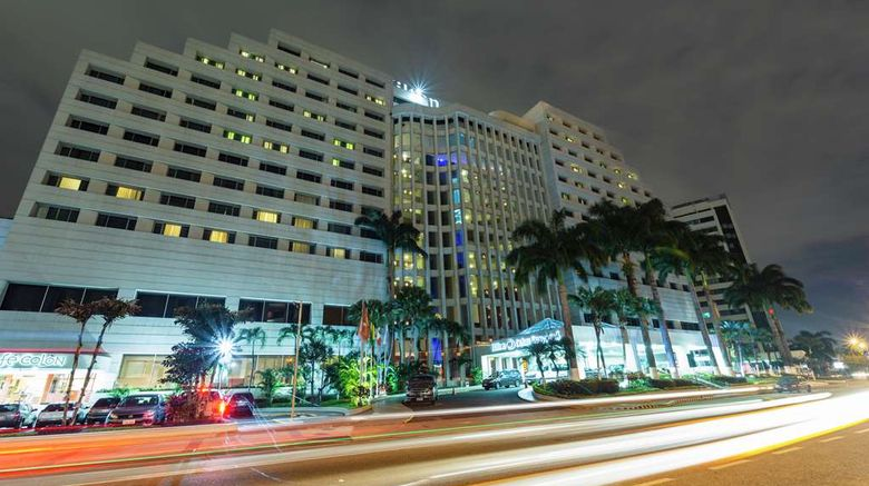 """Hilton Colon Guayaquil Exterior. Images powered by <a href=""""http://web.iceportal.com"""" target=""""_blank"""" rel=""""noopener"""">Ice Portal</a>."""