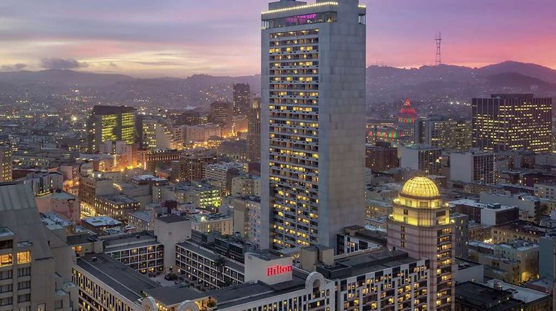 """Hilton San Francisco Union Square Exterior. Images powered by <a href=""""http://web.iceportal.com"""" target=""""_blank"""" rel=""""noopener"""">Ice Portal</a>."""
