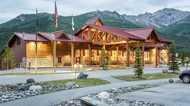 """Denali Princess Wilderness Lodge Exterior. Images powered by <a href=""""http://web.iceportal.com"""" target=""""_blank"""" rel=""""noopener"""">Ice Portal</a>."""