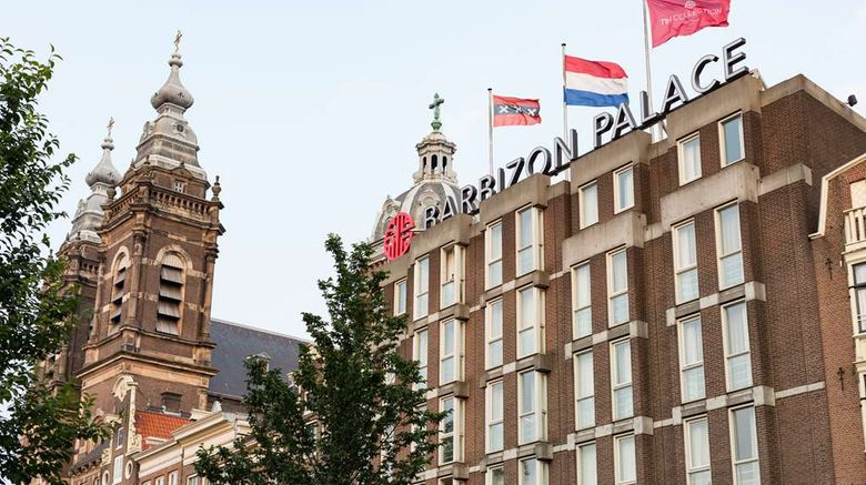 """NH Collection Amsterdam Barbizon Palace Exterior. Images powered by <a href=""""http://web.iceportal.com"""" target=""""_blank"""" rel=""""noopener"""">Ice Portal</a>."""