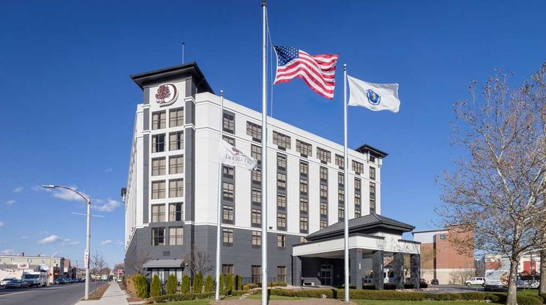 """DoubleTree Boston Logan Airport Chelsea Exterior. Images powered by <a href=""""http://web.iceportal.com"""" target=""""_blank"""" rel=""""noopener"""">Ice Portal</a>."""
