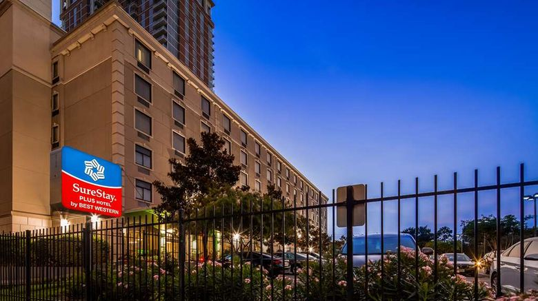 """SureStay Plus Hotel Houston Exterior. Images powered by <a href=""""http://web.iceportal.com"""" target=""""_blank"""" rel=""""noopener"""">Ice Portal</a>."""