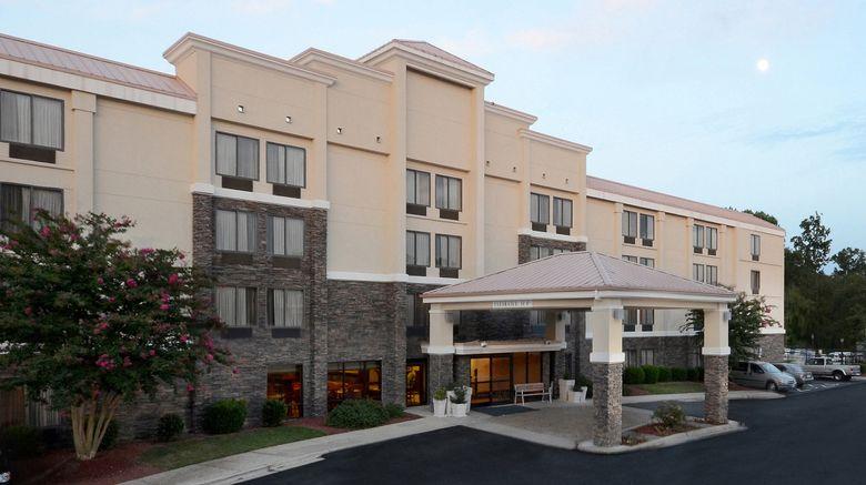 "Holiday Inn Express RDU Exterior. Images powered by <a href=""http://www.leonardo.com"" target=""_blank"" rel=""noopener"">Leonardo</a>."