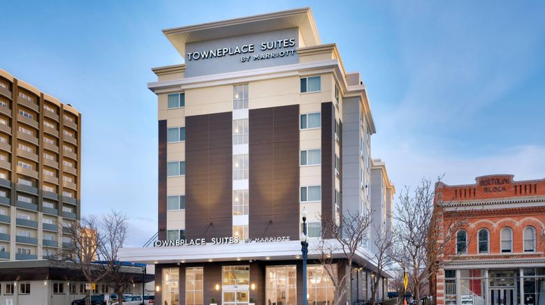 """TownePlace Suites Salt Lake City Dtwn Exterior. Images powered by <a href=""""http://www.leonardo.com"""" target=""""_blank"""" rel=""""noopener"""">Leonardo</a>."""