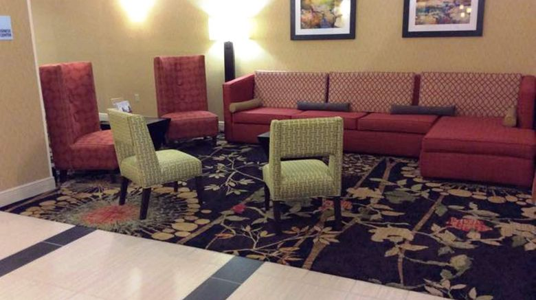 """Holiday Inn Express  and  Suites Forest Lobby. Images powered by <a href=""""http://www.leonardo.com"""" target=""""_blank"""" rel=""""noopener"""">Leonardo</a>."""
