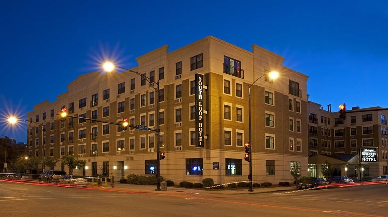"""The Chicago South Loop Hotel Exterior. Images powered by <a href=""""http://www.leonardo.com"""" target=""""_blank"""" rel=""""noopener"""">Leonardo</a>."""