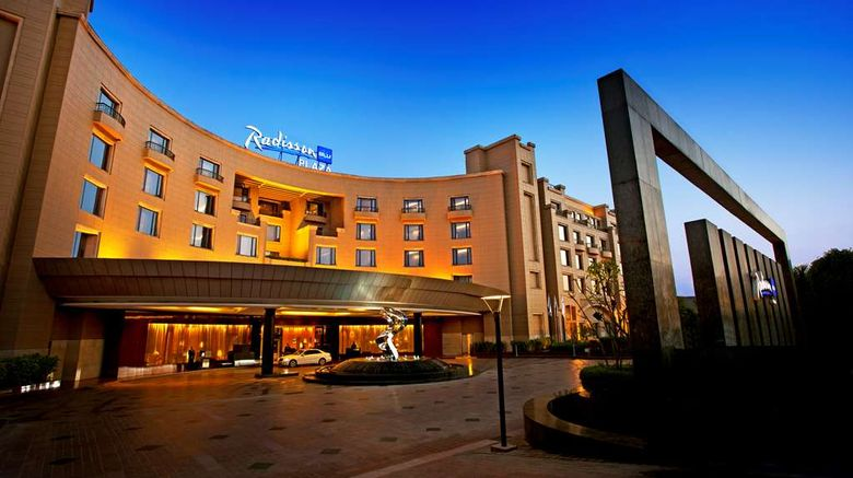 """Radisson Blu Plaza Delhi Airport Exterior. Images powered by <a href=""""http://web.iceportal.com"""" target=""""_blank"""" rel=""""noopener"""">Ice Portal</a>."""