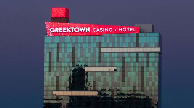 """Greektown Casino Hotel Exterior. Images powered by <a href=""""http://web.iceportal.com"""" target=""""_blank"""" rel=""""noopener"""">Ice Portal</a>."""