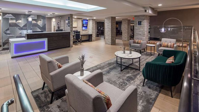 """Best Western Plus Crabtree Valley Hotel Lobby. Images powered by <a href=""""http://web.iceportal.com"""" target=""""_blank"""" rel=""""noopener"""">Ice Portal</a>."""