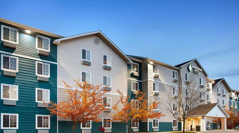 """WoodSpring Suites Council Bluffs Exterior. Images powered by <a href=""""http://web.iceportal.com"""" target=""""_blank"""" rel=""""noopener"""">Ice Portal</a>."""