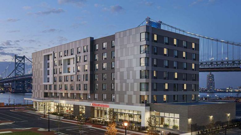 """Hilton Garden Inn Camden Waterfront Phil Exterior. Images powered by <a href=""""http://web.iceportal.com"""" target=""""_blank"""" rel=""""noopener"""">Ice Portal</a>."""