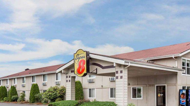 """Super 8 Shelton Exterior. Images powered by <a href=""""http://web.iceportal.com"""" target=""""_blank"""" rel=""""noopener"""">Ice Portal</a>."""