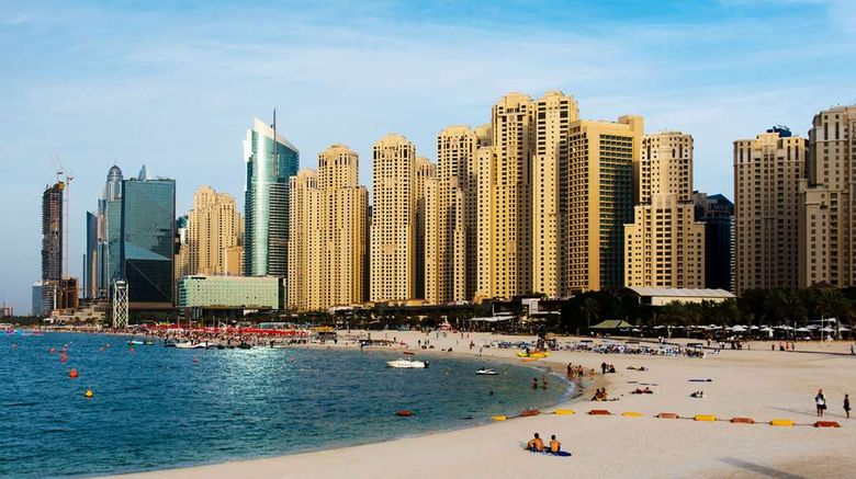 """Ramada Hotel  and  Suites Dubai JBR Exterior. Images powered by <a href=""""http://web.iceportal.com"""" target=""""_blank"""" rel=""""noopener"""">Ice Portal</a>."""