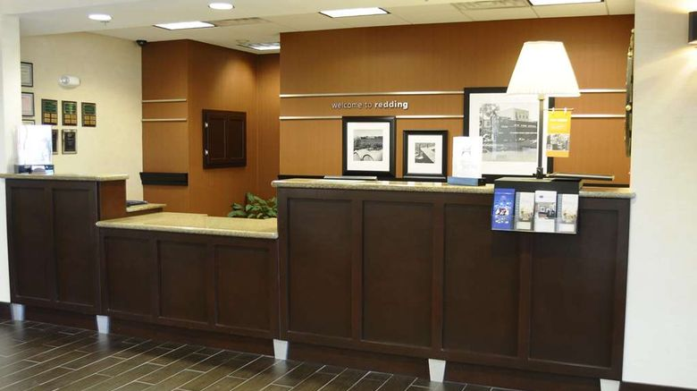 """Hampton Inn  and  Suites Redding Lobby. Images powered by <a href=""""http://web.iceportal.com"""" target=""""_blank"""" rel=""""noopener"""">Ice Portal</a>."""