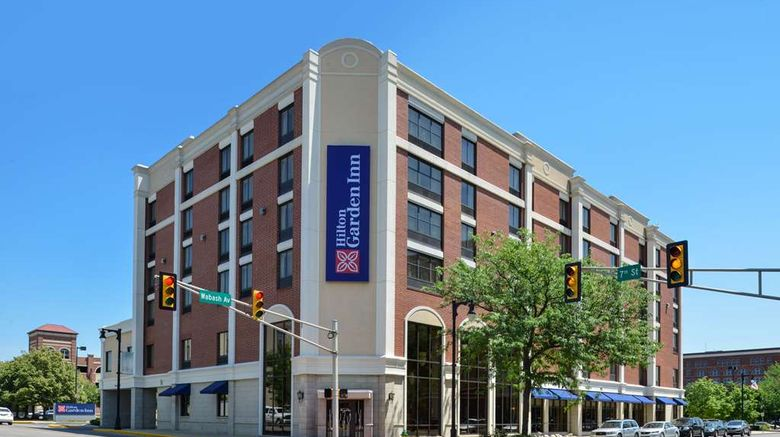 """Hilton Garden Inn Terre Haute Exterior. Images powered by <a href=""""http://web.iceportal.com"""" target=""""_blank"""" rel=""""noopener"""">Ice Portal</a>."""