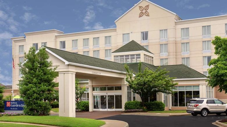 """Hilton Garden Inn Frederick Exterior. Images powered by <a href=""""http://web.iceportal.com"""" target=""""_blank"""" rel=""""noopener"""">Ice Portal</a>."""