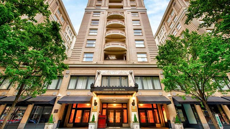"""Embassy Suites Portland - Downtown Exterior. Images powered by <a href=""""http://web.iceportal.com"""" target=""""_blank"""" rel=""""noopener"""">Ice Portal</a>."""