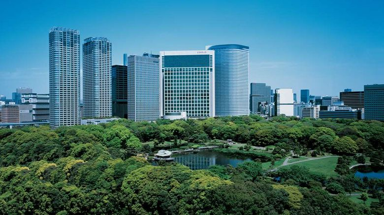 """Conrad Tokyo Exterior. Images powered by <a href=""""http://web.iceportal.com"""" target=""""_blank"""" rel=""""noopener"""">Ice Portal</a>."""