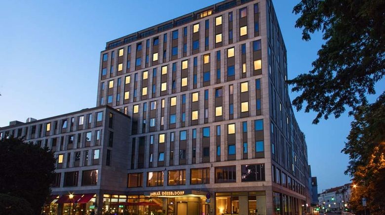 """Melia Duesseldorf Exterior. Images powered by <a href=""""http://web.iceportal.com"""" target=""""_blank"""" rel=""""noopener"""">Ice Portal</a>."""