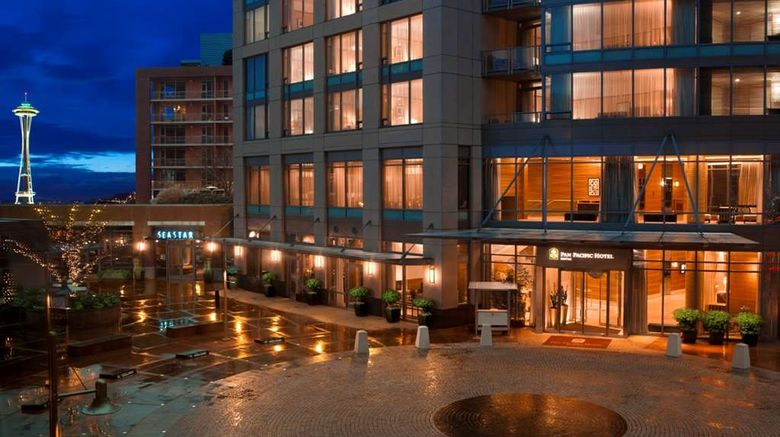 """Pan Pacific Seattle Exterior. Images powered by <a href=""""http://web.iceportal.com"""" target=""""_blank"""" rel=""""noopener"""">Ice Portal</a>."""