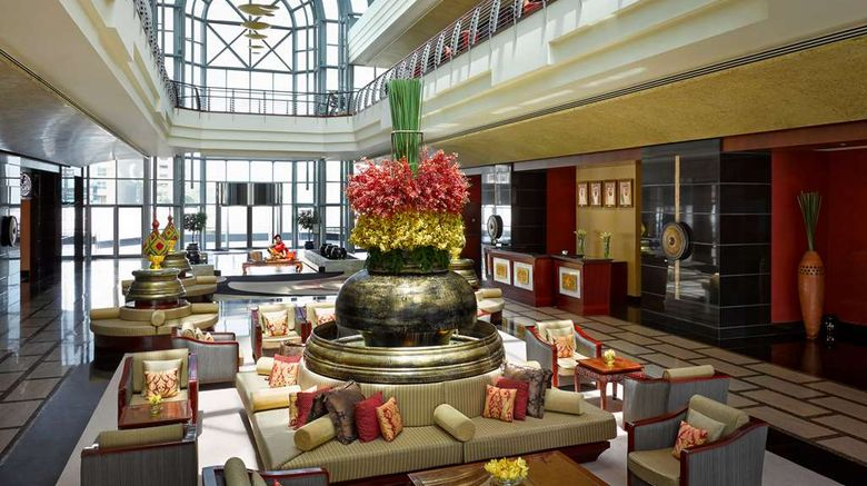 """Dusit Thani Dubai Lobby. Images powered by <a href=""""http://web.iceportal.com"""" target=""""_blank"""" rel=""""noopener"""">Ice Portal</a>."""