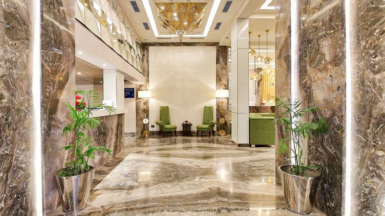 """Golden Tulip Essential Jaipur Lobby. Images powered by <a href=""""http://web.iceportal.com"""" target=""""_blank"""" rel=""""noopener"""">Ice Portal</a>."""