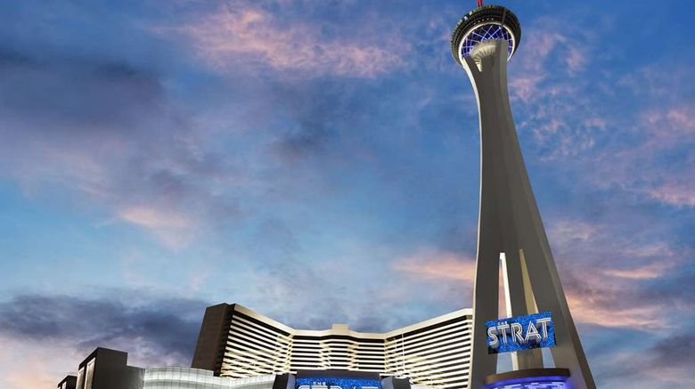 """Strat Hotel, Casino and SkyPod Exterior. Images powered by <a href=""""http://web.iceportal.com"""" target=""""_blank"""" rel=""""noopener"""">Ice Portal</a>."""