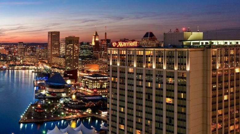 "Baltimore Marriott Waterfront Exterior. Images powered by <a href=""http://www.leonardo.com"" target=""_blank"" rel=""noopener"">Leonardo</a>."
