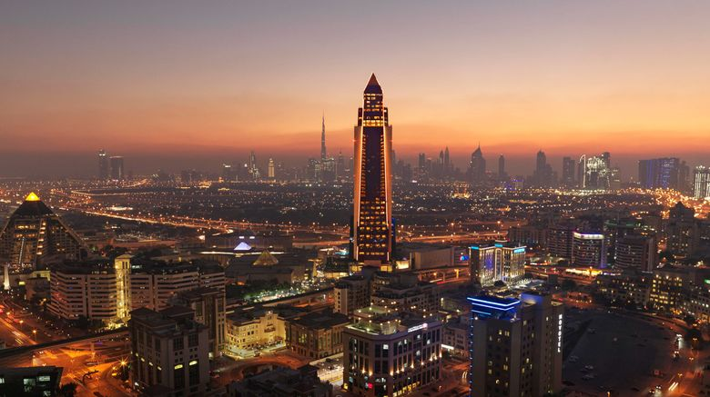 "Sofitel Dubai The Obelisk Exterior. Images powered by <a href=""http://www.leonardo.com"" target=""_blank"" rel=""noopener"">Leonardo</a>."