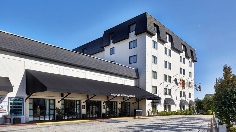 """Annapolis Waterfront Hotel Exterior. Images powered by <a href=""""http://www.leonardo.com"""" target=""""_blank"""" rel=""""noopener"""">Leonardo</a>."""